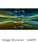 #44455 Royalty-Free (Rf) Illustration Of A Background Of A Circling Blue And Yellow Fractal Reflection