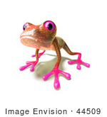 #44509 Royalty-Free (Rf) Illustration Of A Cute 3d Pink Tree Frog Mascot Curiously Looking At The Viewer