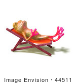#44511 Royalty-Free (Rf) Illustration Of A Cute 3d Pink Tree Frog Mascot Sun Bathing - Pose 1