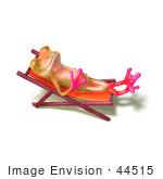#44515 Royalty-Free (Rf) Illustration Of A Cute 3d Pink Tree Frog Mascot Sun Bathing - Pose 2