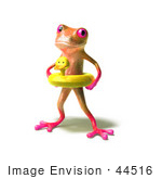 #44516 Royalty-Free (Rf) Illustration Of A Cute 3d Pink Tree Frog Mascot Wearing A Ducky Inner Tube - Pose 1