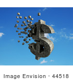 #44518 Royalty-Free (Rf) Illustration Of A 3d Dollar Symbol Made Of Stone Blocks Particles Floating - Version 4