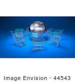 #44543 Royalty-Free (Rf) Illustration Of A 3d Globe Surrounded By Shopping Carts - Version 1