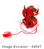 #44547 Royalty-Free (Rf) Illustration Of A 3d Devil Dollar Sign With Horns And A Computer Mouse - Version 3