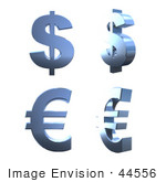 #44556 Royalty-Free (Rf) Illustration Of A Digital Collage Of 3d Blue Chrome Euro And Dollar Signs