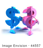 #44557 Royalty-Free (Rf) Illustration Of Two Pink And Blue 3d Dollar Signs Shaking Hands