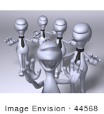 #44568 Royalty-Free (Rf) Illustration Of A Group Of Excited 3d Business Human Like Characters - Version 1