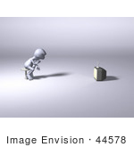 #44578 Royalty-Free (Rf) Illustration Of A 3d Human Like Character Watching Tv - Version 1