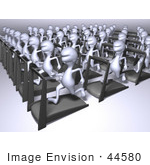#44580 Royalty-Free (Rf) Illustration Of A Crowd Of 3d Human Like Characters Running On Treadmills - Version 2