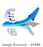 #44586 Royalty-Free (Rf) Illustration Of A 3d Euro Sign Riding On A Blue Arrow - Version 1