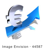 #44587 Royalty-Free (Rf) Illustration Of A 3d Euro Sign Riding On A Blue Arrow - Version 2