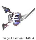 #44604 Royalty-Free (Rf) Illustration Of A 3d Euro Symbols With Three Branching Arrows - Version 2