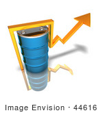 #44616 Royalty-Free (Rf) Illustration Of A 3d Yellow Arrow Going Around A Blue Oil Barrel - Version 2