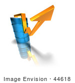 #44618 Royalty-Free (Rf) Illustration Of A 3d Yellow Arrow Going Around A Blue Oil Barrel - Version 1