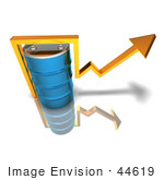 #44619 Royalty-Free (Rf) Illustration Of A 3d Yellow Arrow Going Around A Blue Oil Barrel - Version 3