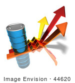 #44620 Royalty-Free (Rf) Illustration Of A 3d Blue Barrel Of Oil On Three Descending Arrows - Version 3