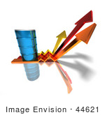 #44621 Royalty-Free (Rf) Illustration Of A 3d Blue Barrel Of Oil On Three Descending Arrows - Version 1