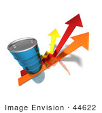 #44622 Royalty-Free (Rf) Illustration Of A 3d Blue Barrel Of Oil On Three Descending Arrows - Version 2