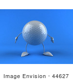 #44627 Royalty-Free (Rf) Illustration Of A 3d Golf Ball Mascot With Arms And Legs Pointing One Finger Down