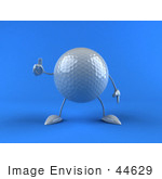 #44629 Royalty-Free (Rf) Illustration Of A 3d Golf Ball Mascot With Arms And Legs Giving The Thumbs Up - Version 1