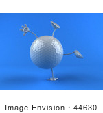 #44630 Royalty-Free (Rf) Illustration Of A 3d Golf Ball Mascot With Arms And Legs Doing A Cartwheel - Version 2