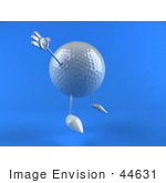 #44631 Royalty-Free (Rf) Illustration Of A 3d Golf Ball Mascot With Arms And Legs Jumping - Version 3