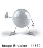 #44632 Royalty-Free (Rf) Illustration Of A 3d Golf Ball Mascot With Arms And Legs Giving The Thumbs Up - Version 2