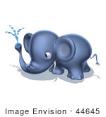 #44645 Royalty-Free (Rf) Illustration Of A 3d Blue Elephant Mascot Spraying Water - Pose 6