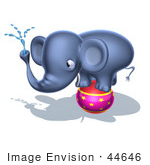 #44646 Royalty-Free (Rf) Illustration Of A 3d Blue Elephant Mascot Standing On A Circus Ball And Spraying Water - Pose 4