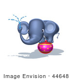 #44648 Royalty-Free (Rf) Illustration Of A 3d Blue Elephant Mascot Standing On A Circus Ball And Spraying Water - Pose 3
