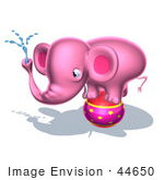 #44650 Royalty-Free (Rf) Illustration Of A 3d Pink Elephant Mascot Standing On A Circus Ball And Spraying Water - Pose 2