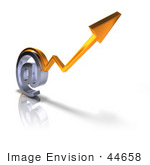 #44658 Royalty-Free (Rf) Illustration Of A 3d Arrow Graph Over An Arobase Symbol - Version 3