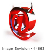 #44663 Royalty-Free (Rf) Illustration Of A 3d Devil Arobase At Symbol With Horns - Version 3