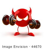 #44670 Royalty-Free (RF) Illustration of a 3d Red Red Devil Mascot Weight Lifting by Julos