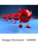 #44680 Royalty-Free (Rf) Illustration Of A Row Of Red 3d Devil Heads Walking In A Line - Version 4