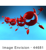 #44681 Royalty-Free (Rf) Illustration Of A Row Of 3d Red Devil Heads Marching Forward - Version 4