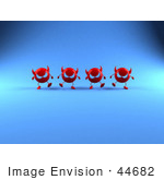 #44682 Royalty-Free (Rf) Illustration Of A Row Of 3d Red Devil Heads Marching Forward - Version 5