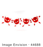 #44688 Royalty-Free (Rf) Illustration Of A Row Of 3d Red Devil Mascots Marching Forward - Version 1