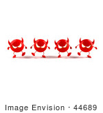 #44689 Royalty-Free (Rf) Illustration Of A Row Of 3d Red Devil Mascots Marching Forward - Version 2