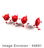#44691 Royalty-Free (Rf) Illustration Of A Row Of Red 3d Devil Mascots Walking In A Line - Version 1