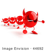 #44692 Royalty-Free (Rf) Illustration Of A Row Of Red 3d Devil Mascots Walking In A Line - Version 2