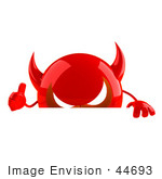 #44693 Royalty-Free (Rf) Illustration Of A 3d Red Devil Head Mascot Giving The Thumbs Up And Standing Behind A Blank Sign