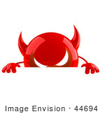 #44694 Royalty-Free (Rf) Illustration Of A 3d Red Devil Head Mascot Standing Behind A Blank Sign