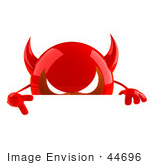#44696 Royalty-Free (Rf) Illustration Of A 3d Red Devil Head Mascot Giving The Peace Sign And Standing Behind A Blank Sign