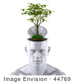 #44769 Royalty-Free (Rf) Illustration Of A Creative 3d White Man Character With A Plant - Version 1