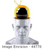 #44770 Royalty-Free (Rf) Illustration Of A Creative 3d White Man Character With A Tv - Version 1