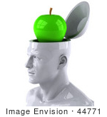 #44771 Royalty-Free (Rf) Illustration Of A Creative 3d White Man Character With A Green Granny Smith Apple