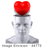 #44773 Royalty-Free (Rf) Illustration Of A Creative 3d White Man Character With A Red Heart