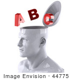 #44775 Royalty-Free (Rf) Illustration Of A Creative 3d White Man Character With Red Letters - Version 2