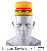 #44777 Royalty-Free (Rf) Illustration Of A Creative 3d White Man Character With A Cheeseburger - Version 2
